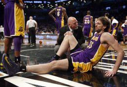 Lesión de Pau Gasol en una nueva victoria de los Lakers