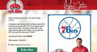 Ni pizza: cambian las ofertas por las once derrotas de los Sixers