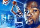 Kevin Durant, segundo más joven en llegar a 15.000 puntos