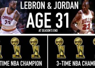 Comparan las carreras de LeBron y Jordan a los 31 años