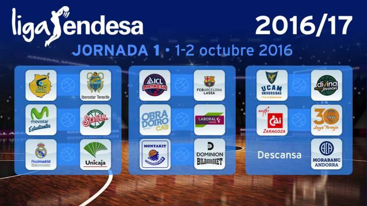 El Madrid arranca ante Unicaja; el 1º Clásico, 5-6 de noviembre