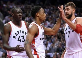 DeRozan (40) y Valanciunas (32) no dan opciones a los Pistons