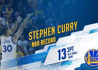 Curry revienta la historia de la NBA: 13 triples en un partido