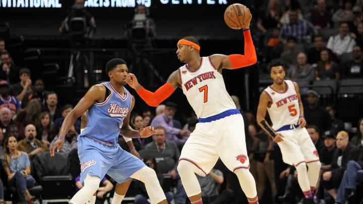 Los Knicks salvan el pellejo en Sacramento; Melo, 33 puntos