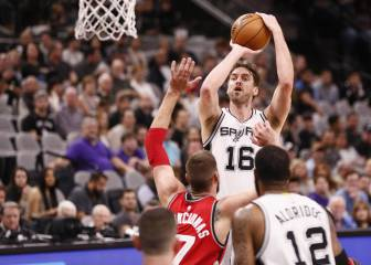 Los Spurs de Pau Gasol (4 tapones) barren a los Raptors