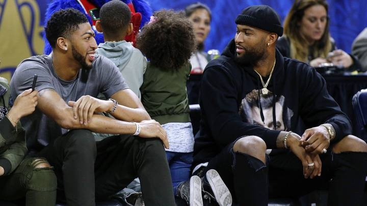 Anthony Davis y DeMarcus Cousins, en el partido de celebrities del All Star Game. Entonces eran rivales, ahora ya son compañeros.