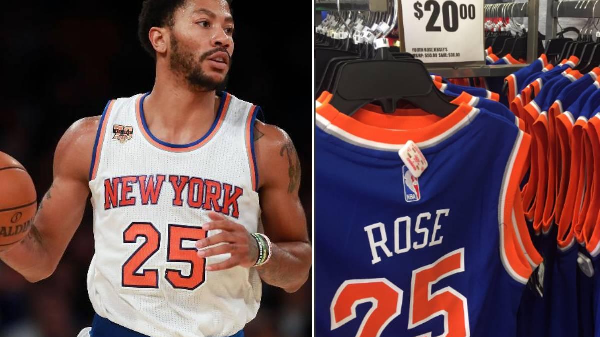 Derrick Rose tiene un pie afuera de los Knicks y sus camisetas casi se regalan en New York