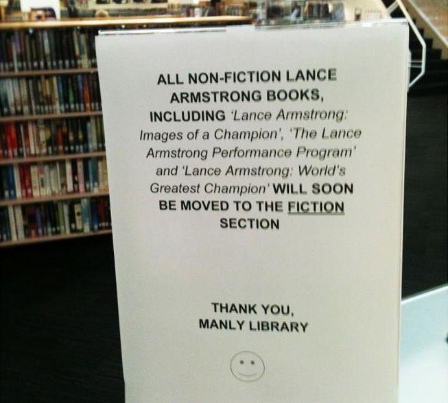 Los libros sobre Armstrong pasan a la sección de ficción