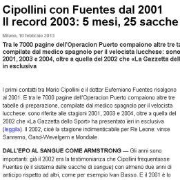 Gazzetta: Cipollini tuvo contacto con Fuentes entre 2001 y 2004