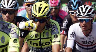 Alberto Contador se cayó sin consecuencias en la neutralizada
