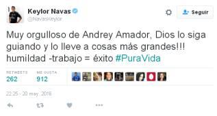 """Keylor Navas felicita a Amador por el rosa: """"Estoy orgulloso"""""""