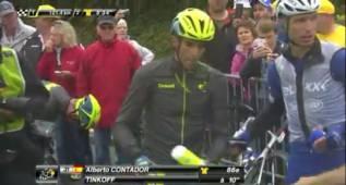 Contador, otra vez implicado en una caída en el Tour