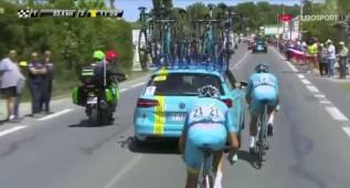 Fabio Aru hizo trascoche tras cambiar de bicicleta