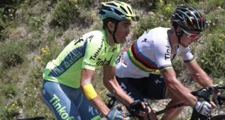 Contador felicita a Peter Sagan tras su tercera victoria