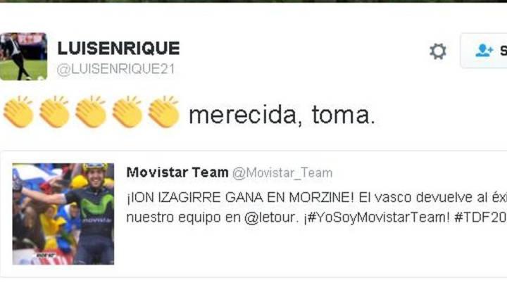 Luis Enrique celebró la victoria de Ion Izagirre en el Tour