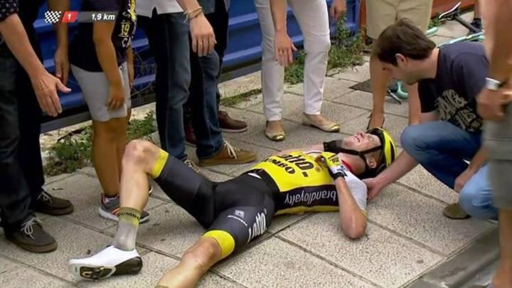Kruijswijk chocó contra un bolardo sin señalización