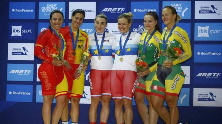 Calvo y Casas, plata en velocidad femenina por equipos