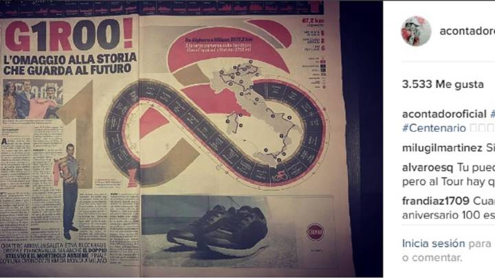 Alberto Contador muestra su interés por el recorrido del Giro