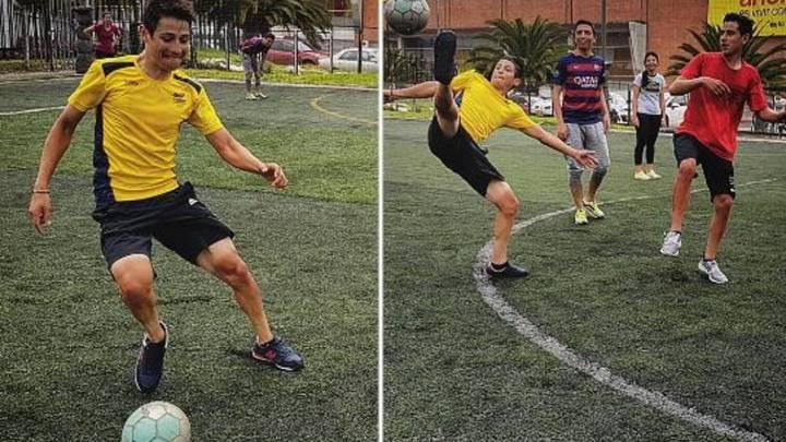 Esteban Chaves juega a fútbol y reta a James con la bicicleta