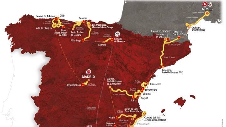 Consulta aquí el mapa y todas las etapas de la Vuelta 2017