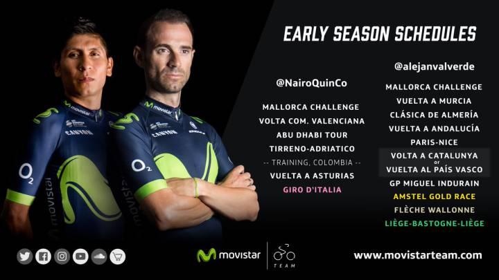 El equipo Movistar presentó los calendarios para 2017 de Nairo Quintana (que correrá Giro y Tour) y Alejandro Valverde (que correrá Tour y Vuelta).