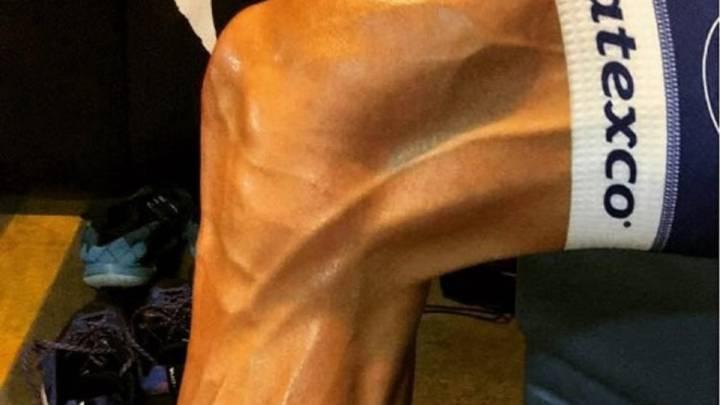 Pieter Serry mostró a sus seguidores cómo quedó la pierna de Tom Boonen después de un entrenamiento en Argentina.