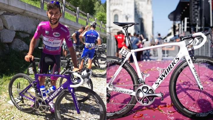 Las bicicletas personalizadas con colores morados y blancos que han recibido Fernando Gaviria y Bon Jungels tras ganar las clasificaciones de los puntos y al mejor joven en el Giro de Italia.