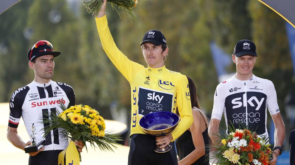 Roban el trofeo de Geraint Thomas del título Tour de Francia