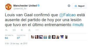 Falcao está lesionado: cuenta del Manchester United