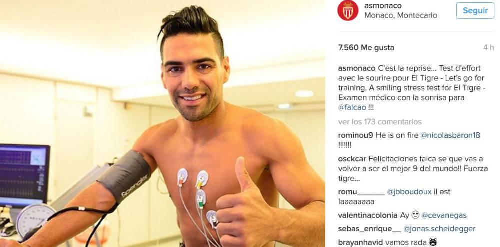 Radamel Falcao García compartió en su cuenta de Instagram una foto en la que realiza pruebas médicas para la nueva temporada con Mónaco.