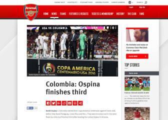 Arsenal destaca el tercer lugar de Ospina con Colombia