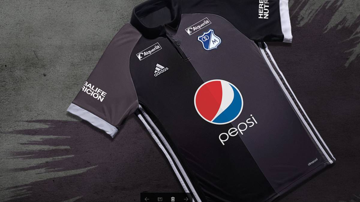 51f15df475882 Millonarios presentó este lunes su nueva camiseta adidas como visitante  para la Liga Águila 2017-