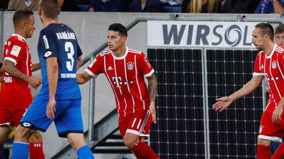 James Rodríguez no jugaría con el Bayern Múnich ante el Hoffenheim