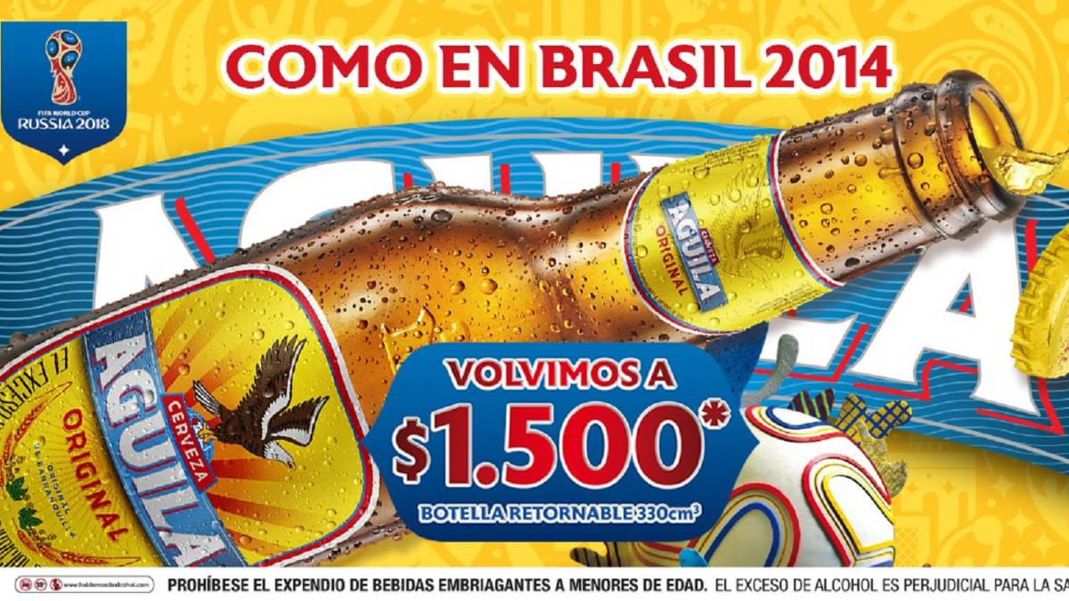 Cerveza Águila baja su precio, será el mismo de Brasil 2014