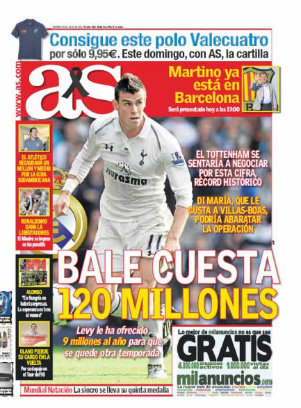 1360667016 235718 1374807780 portadadelperiodico grande €120m Bale tells Spurs to keep your word & negotiate with Real Madrid [Marca & AS]