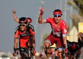 Kristoff outsprints the pack but Cavendish is leader in Qatar