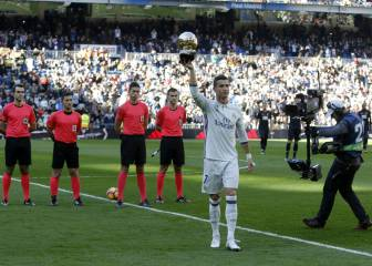 Cristiano Ronaldo presents his Ballon d'Or to the Bernabéu