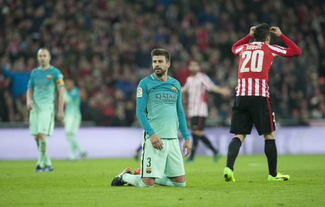 Gerard Pique wasn't happy after the defeat to Athletic.
