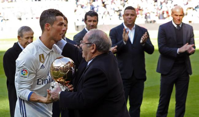 Ronaldo presented with his fourth Ballon d'Or award.