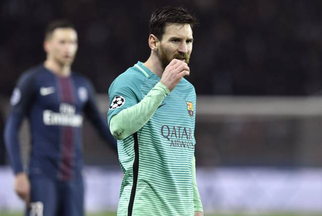 Barcelona's Argentinian forward Lionel Messi looks on during the UEFA Champions League round of 16 first leg football match between Paris Saint-Germain and FC Barcelona
