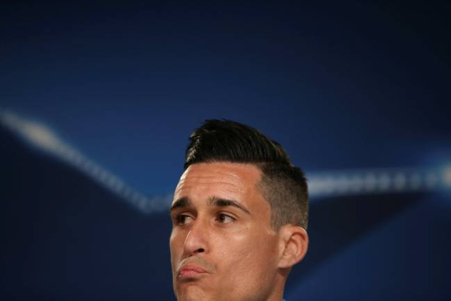 Callejon attends a news conference before Real Madrid game.