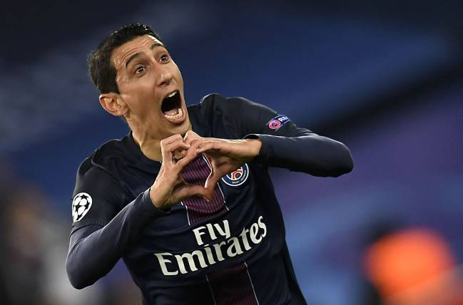 Paris Saint-Germain's Argentinian forward Angel Di Maria celebrates after scoring in the Champions League against Barcelona.