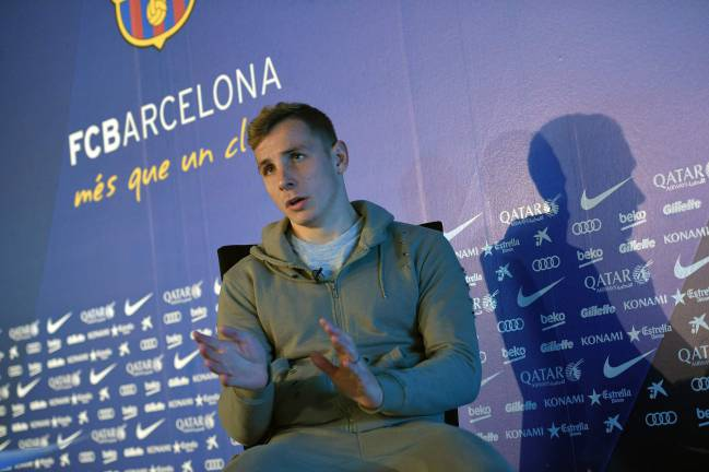 Barcelona's French defender Lucas Digne shows how big the gap is.