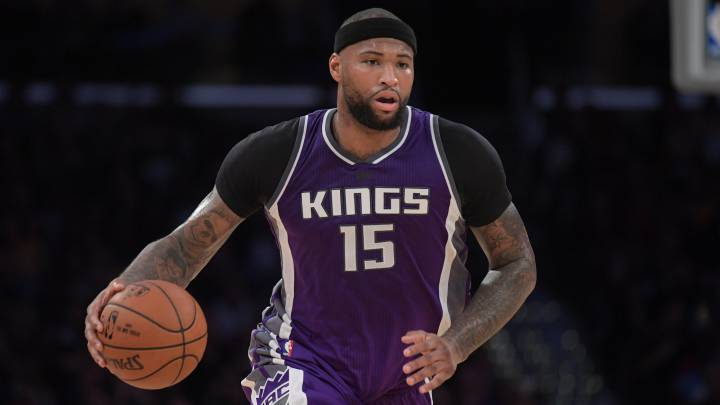 Sacramento Kings forward DeMarcus Cousins moves the ball against the Los Angeles Lakers.