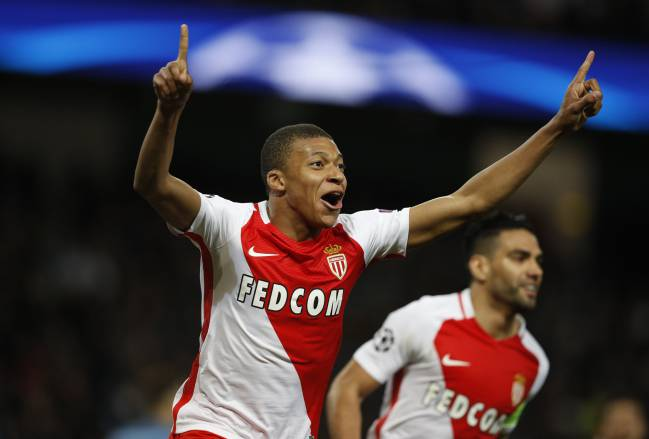 Monaco's Kylian Mbappe-Lottin celebrates scoring their second goal