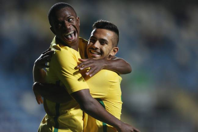Vinicius Júnior and Alan de Souza in action with Brazil's Under-17s