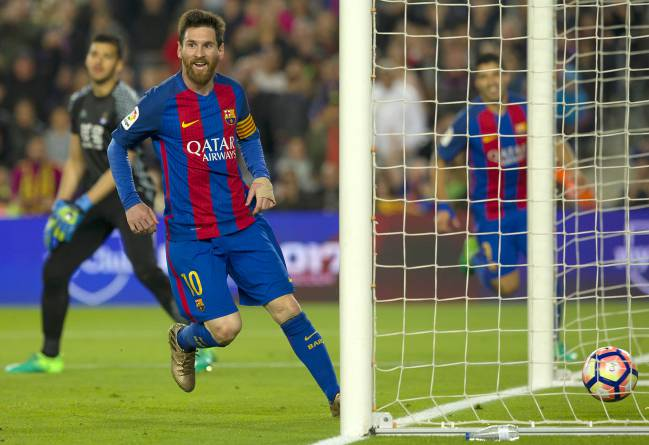 Goal number 498 rolls over the line. Leo Messi