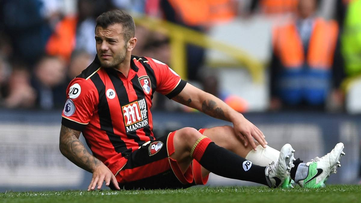 The Bournemouth midfielder, on loan from Arsenal, broke his leg in a collision with Tottenham's Harry Kane. His future at The Emirates is uncertain.