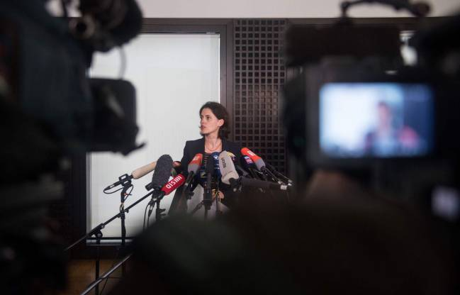 Frauke Koehler, spokesperson of Germany's Federal Prosecutor, gives a press conference on April 21, 2017 in Karlsruhe, southern Germany.