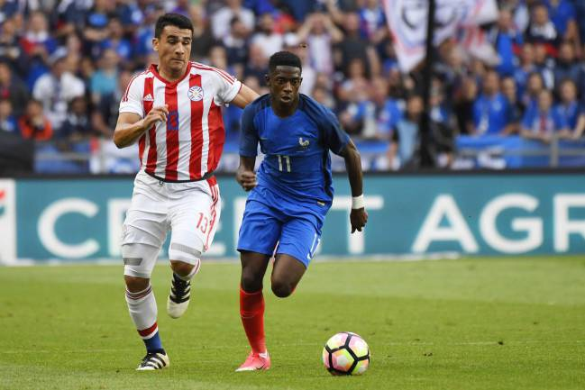 Ousmane Dembélé in action for France against Paraguay last week.